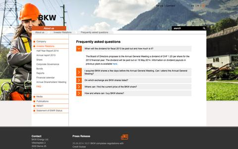 Screenshot of FAQ Page bkw.ch - Frequently asked questions - BKW Energy Ltd. - captured Nov. 5, 2014