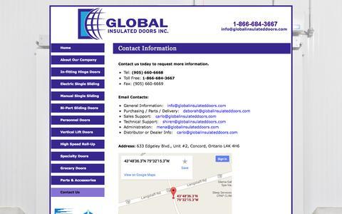 Screenshot of Contact Page globalinsulateddoors.com - Global Insulated Doors (905) 660-6668 - manufacturer of freezer cold storage clark doors - captured Sept. 30, 2014
