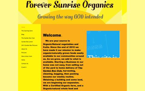 Screenshot of Home Page foreversunriseorganics.com - Forever Sunrise Organics - Home - captured Oct. 6, 2014