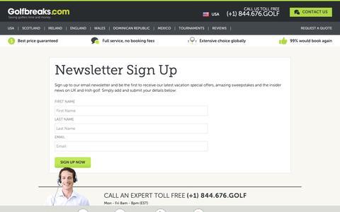 Screenshot of Signup Page golfbreaks.com captured Sept. 29, 2018