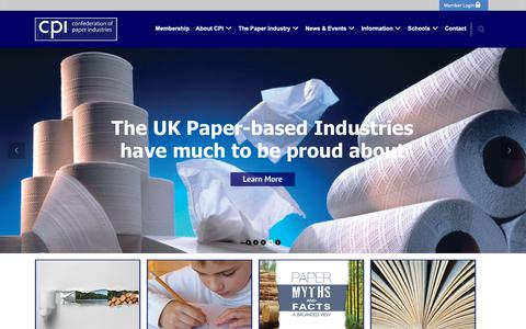 Screenshot of Home Page paper.org.uk - Confederation of Paper Industries | Repsenting the supply chain for paper - captured Sept. 29, 2018