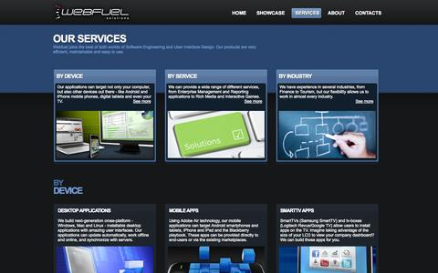Screenshot of Services Page webfuel.pt - Webfuel Solutions - Web, Desktop, TV and Mobile Rich Applications - captured Oct. 9, 2014