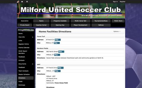 Screenshot of Maps & Directions Page musc.org - Home Facilities Directions | Milford United Soccer Club - captured Oct. 30, 2018
