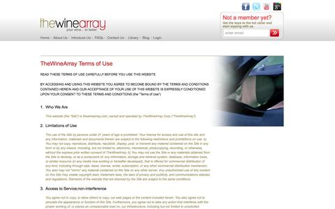 Screenshot of Terms Page thewinearray.com - Wine Guide / The Wine Array - captured Oct. 6, 2014