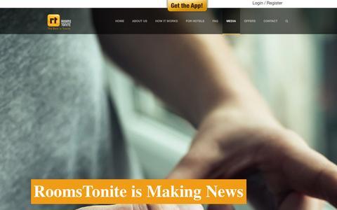 Screenshot of Press Page roomstonite.com - Media | Last Minute Hotel Booking App         RoomsTonite - captured Oct. 29, 2014