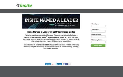 """Screenshot of Landing Page insitesoft.com - Forrester Waveâ""""¢: Insite Named a Leader - captured June 16, 2016"""