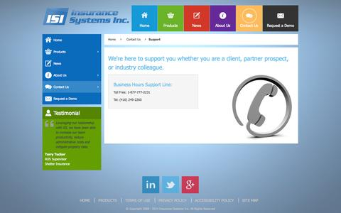 Screenshot of Support Page insurancesystems.com - Support - Insurance Systems Inc. - captured Oct. 10, 2014