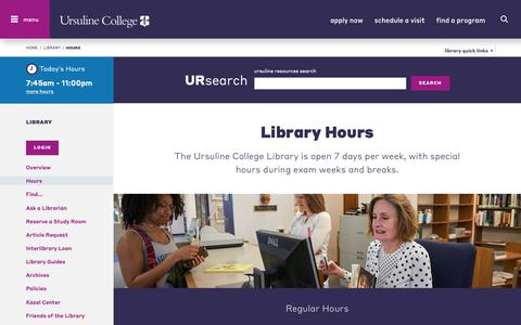 Screenshot of Hours Page ursuline.edu - Hours | Ursuline College  - Liberal Arts Education in Ohio - captured Dec. 12, 2018