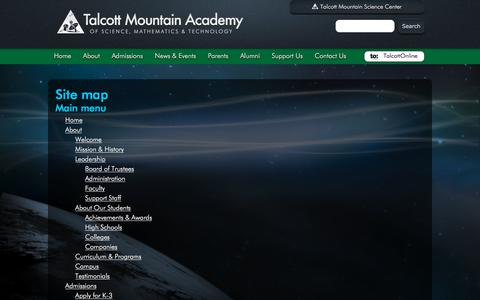 Screenshot of Site Map Page tmsc.org - Talcott Mountain Academy - Site map   CT STEM Education K-8 School - captured Nov. 14, 2017