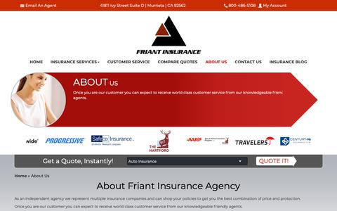 Screenshot of About Page friantinsurance.com - About Friant Insurance Agency | 41811 Ivy Street Suite D Murrieta, CA 92562 - captured Oct. 11, 2018
