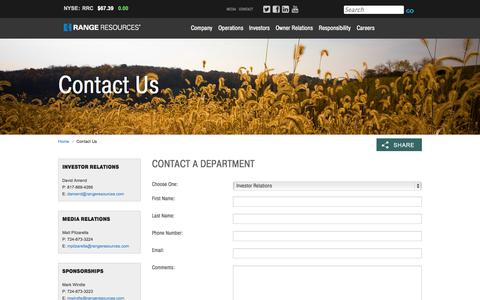 Screenshot of Contact Page rangeresources.com - Range Resources - Contact Us - captured Oct. 29, 2014