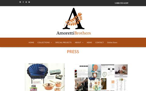 Screenshot of Press Page amorettibrothers.com - Amoretti Brothers | Copper Cookware & More - captured Oct. 8, 2017