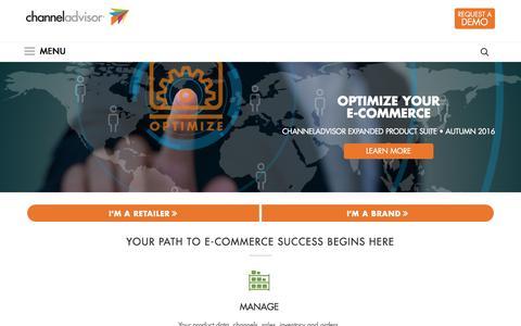 Screenshot of channeladvisor.com - E-Commerce Solutions & Services for Retailers & Brands-ChannelAdvisor - captured Oct. 25, 2016