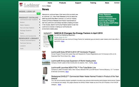 Screenshot of Press Page lochinvar.com - Lochinvar :: News - captured Nov. 3, 2014