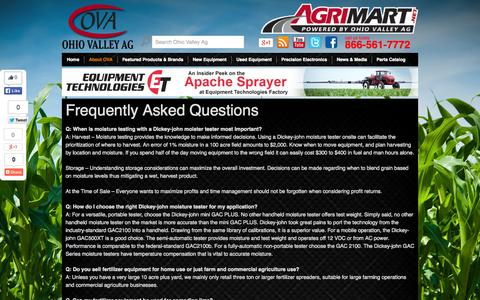 Screenshot of FAQ Page ohiovalleyag.com - FAQ | Ag Technical Information | Ohio Valley Ag - captured Oct. 7, 2014