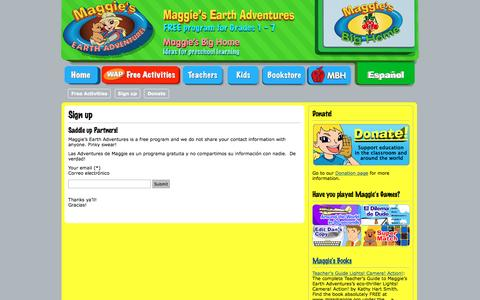 Screenshot of Signup Page missmaggie.org - Sign up - Maggie's Earth Adventures - captured April 11, 2017