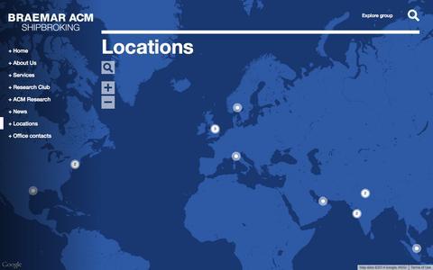 Screenshot of Locations Page braemaracm.com - Locations | Braemar ACM Shipbroking - captured Oct. 29, 2014
