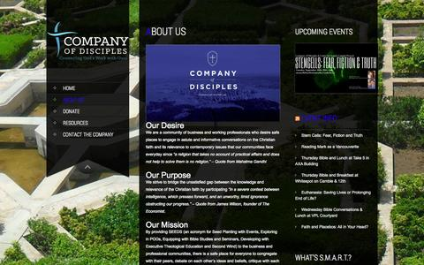Screenshot of About Page companyofdisciples.com - About Us | Company of Disciples - captured Sept. 30, 2014