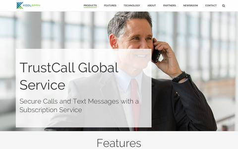 Screenshot of Products Page koolspan.com - TrustCall Global Service | Subscription Service - captured Dec. 4, 2015