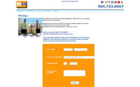 Screenshot of Pricing Page shipping-and-handling.com - Shipping-and-Handling.com - captured Oct. 6, 2014