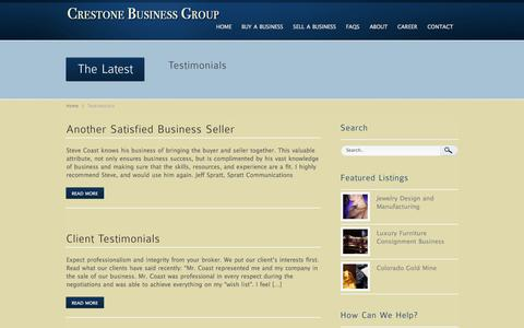 Screenshot of Testimonials Page crestonebusinessgroup.com - Testimonials Archives « Crestone Business Group Crestone Business Group - captured Sept. 30, 2014