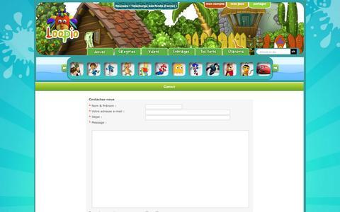 Screenshot of Contact Page loopio.fr - Loopio - Jeux pour enfants  - Contact - captured Sept. 24, 2016