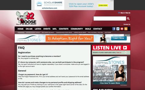 Screenshot of FAQ Page 92moose.fm - 92 Moose – The #1 Hit Music Station – Augusta/Waterville Pop Radio - captured Nov. 4, 2014