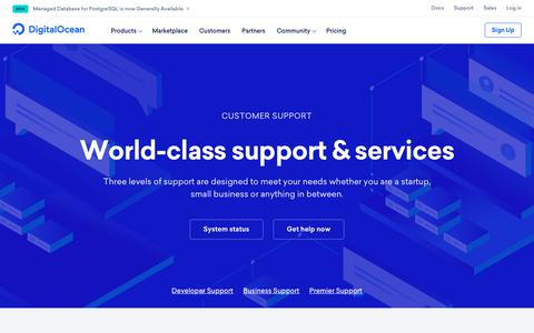 Screenshot of Support Page digitalocean.com - Support for developers and businesses - captured May 18, 2019