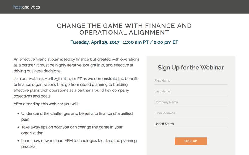Webinar: Change the Game With Finance and Operational Alignment   Host Analytics