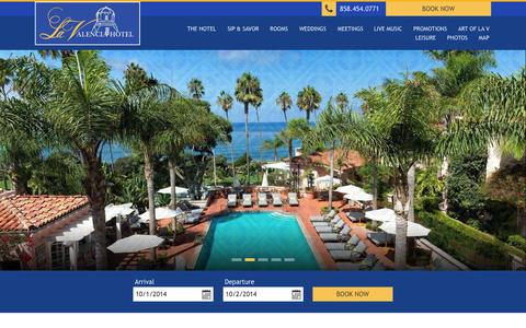 Screenshot of Home Page lavalencia.com - La Jolla Hotels | La Valencia Hotel | La Jolla Oceanfront Resort | La Jolla, California - captured Oct. 1, 2014