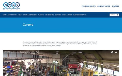 Screenshot of Jobs Page mwmg.org - Careers — Mid Wales Manufacturing Group - captured June 7, 2018