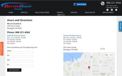 Screenshot of Hours Page bettenbakerhonda.com - Directions to Betten Honda | Muskegon, Grand Rapids, Holland, Traverse City, Grand Haven, Manistee, Ludington, Grandville | Michigan - captured July 29, 2016