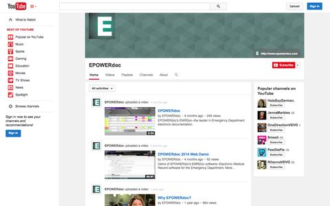 Screenshot of YouTube Page youtube.com - EPOWERdoc  - YouTube - captured Oct. 22, 2014