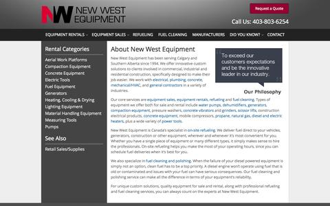 Screenshot of About Page newwestequipment.com - About New West Equipment in Calgary, AB | History of New West Equipment in the Calgary and Southern Alberta area - captured Nov. 5, 2014