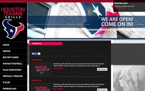 Screenshot of Products Page g3restaurants.com - | Houston Texans Grille - captured Oct. 3, 2014