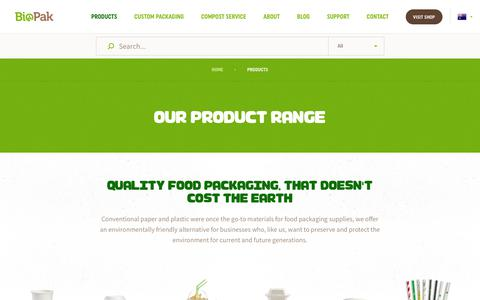 Screenshot of Products Page biopak.com.au - Biopak | Products - captured Oct. 6, 2018