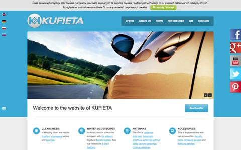 Screenshot of Home Page kufieta.com - KUFIETA - Car accesorries, ice srapers, brushes, squeegees and antenas - captured Sept. 30, 2014