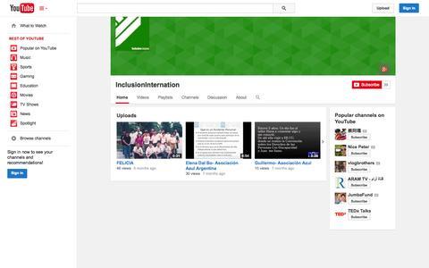 Screenshot of YouTube Page youtube.com - InclusionInternation  - YouTube - captured Oct. 25, 2014