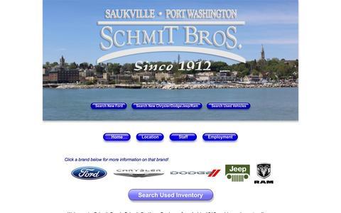 Screenshot of Home Page schmitbros.com - Schmit Bros. Auto | New Dodge, Jeep, Ford, Chrysler, Ram Dealership in Saukville, WI 53080 - captured Sept. 17, 2015