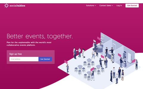 Screenshot of Home Page socialtables.com - Social Tables | Better events, together. - captured May 2, 2018