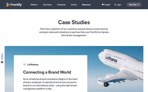 Screenshot of Case Studies Page frontify.com - Case Studies | Frontify - captured Aug. 16, 2019