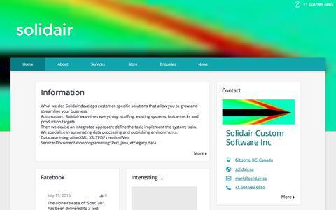 Screenshot of Home Page solidair.ca - solidair custom software inc - captured Dec. 1, 2016