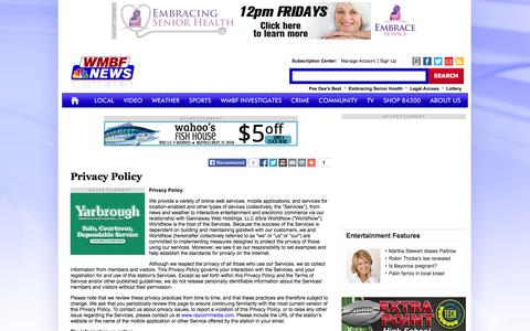 Screenshot of Privacy Page wmbfnews.com - Privacy Policy - WMBFNews.com, Myrtle Beach/Florence SC, Weather - captured Sept. 23, 2014