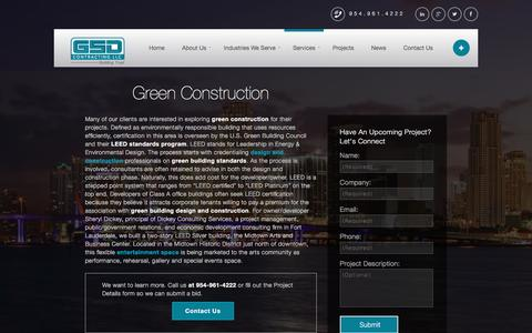 Screenshot of Services Page gsdcontracting.com - Green Construction | Green Building & Design Company - captured April 2, 2016