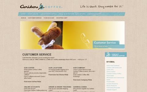Screenshot of Support Page cariboucoffee.com - Customer Service - captured July 19, 2014
