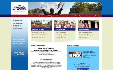 Screenshot of Home Page americaatwork.org - America At Work | Removing Workforce Barriers - captured Feb. 6, 2016