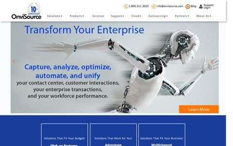 Screenshot of Home Page onvisource.com - Enterprise-wide Workforce Optimization and Analytics Solutions - captured Aug. 16, 2015
