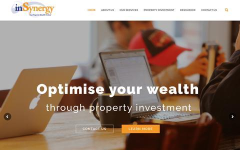 Screenshot of Home Page insynergy.net.au - Welcome to inSynergy Property Wealth Advisory - captured Oct. 16, 2017