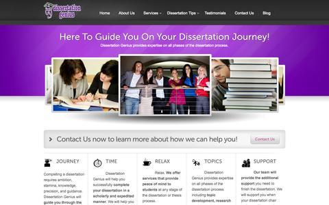 Screenshot of Home Page dissertationgenius.com - Dissertation Help, Dissertation Assistance, Thesis Writing Help   Dissertation Genius - captured Sept. 30, 2014
