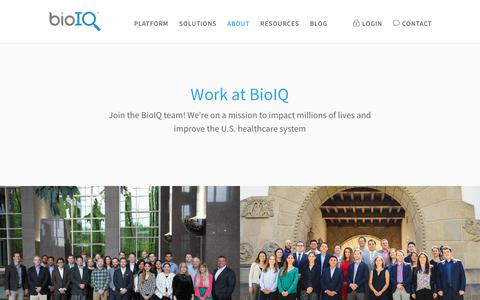 Screenshot of Jobs Page bioiq.com - Start your career at BioIQ. Come join us, it's fun here! - captured July 13, 2017